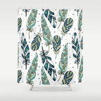 feathers Shower Curtains featuring Feathers by Julia Badeeva