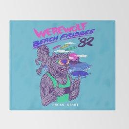 Werewolf Beach Frisbee Throw Blanket