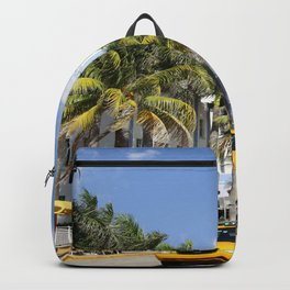 Yellow Cabs On Ocean Drive Backpack