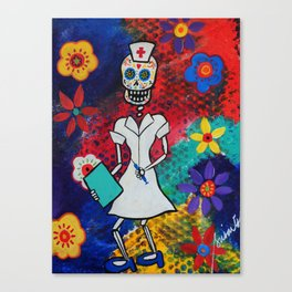 Mexican Day of the Dead Nurse Painting  Canvas Print