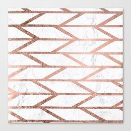 Modern faux rose gold herringbone chevron pattern Canvas Print