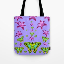 GREEN MOTHS & PURPLE LILIES LILAC COLOR Tote Bag