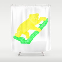 Bright Australian Native Wildlife - Yellow Koala Illustration Shower Curtain