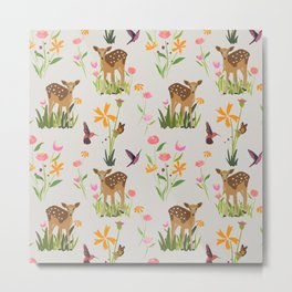 Fawn and Wildflowers Pattern with Hummingbird Metal Print