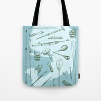 moby dick Tote Bags featuring Moby Dick by BT Livermore