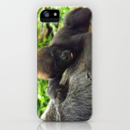 Baby Gorilla Riding Mother's Back iPhone Case