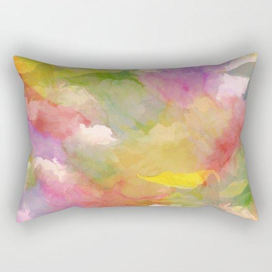 Rainbow Watercolor Floral Abstract Rectangular Pillow