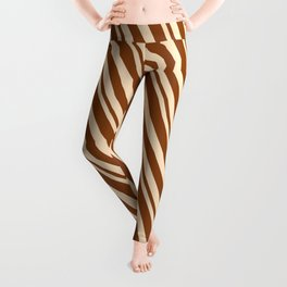 Bisque and Brown Colored Lines Pattern Leggings