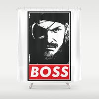 metal gear solid Shower Curtains featuring Big Boss - Metal Gear Solid by TxzDesign
