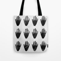 hands Tote Bags featuring hands by namaki