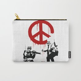 Soldiers Painting Peace Symbol, Banksy, Streetart Street Art, Grafitti, Artwork, Design For Men, Wom Carry-All Pouch