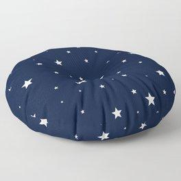 Scattered Stars White on Midnight Blue Floor Pillow