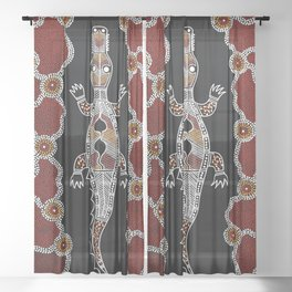 Crocodile - Authentic Aboriginal Art Sheer Curtain