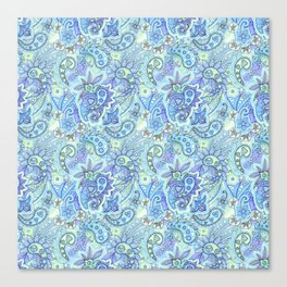 Blue paisley Canvas Print