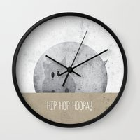 hip hop Wall Clocks featuring Hip Hop Hooray by Lee Walsh