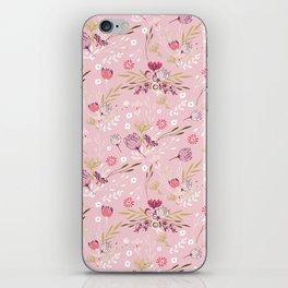 Vintage chic rose pink white red boho floral pattern iPhone Skin