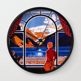 Beautiful Lake Louise Travel Poster Wall Clock