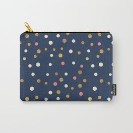 Hipster navy blue faux gold glitter modern polka dots Carry-All Pouch