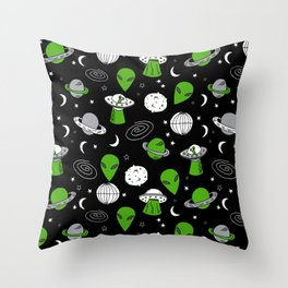 Alien outer space cute aliens french fries rad sodas pattern print black Throw Pillow