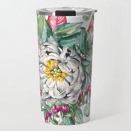 Gentille Peony, watercolor handpainted clipart, floral, flower, design, stylish, wedding, invitation Travel Mug