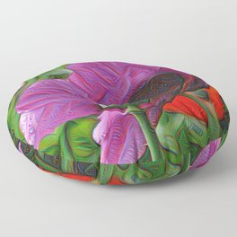 DeepDream Flowers, Poppy, DeepDream style Floor Pillow