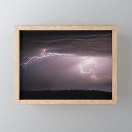 Summer Lightning Storm On The Prairie VI - Nature Landscape Framed Mini Art Print