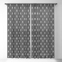 BLACK & WHITE SKULLS ALL OVER PRINT LARGE Sheer Curtain