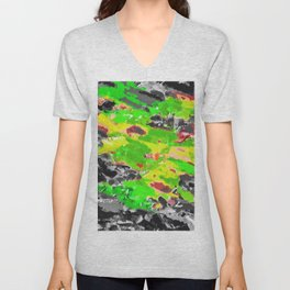 psychedelic splash painting abstract texture in in green yellow black Unisex V-Neck