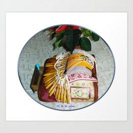Carreau de dentellière du Val d'Allier et plante fleurie Art Print