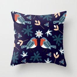 Winter bullfinches Throw Pillow