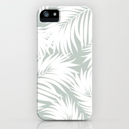 Palm Tree Fronds White on Rainwashed Maui Hawaii Tropical Graphic Design iPhone Case