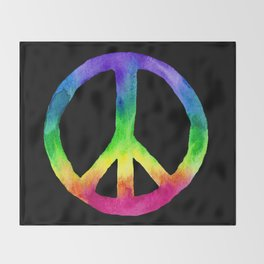 Rainbow Watercolor Peace Sign - Black Background Throw Blanket