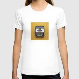 Blue and White Typewriter T-shirt