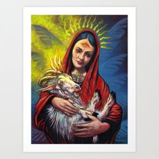 Portrait - Occult Madoona with Baphomet Goat Child  Art Print