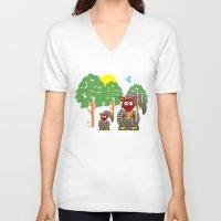 kangaroo V-neck T-shirts featuring Kangaroo by Design4u Studio
