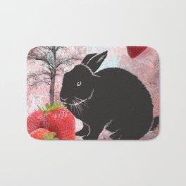 Black Rabbit and Strawberries Bath Mat