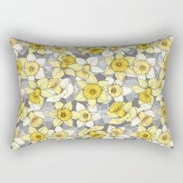 Daffodil Daze - yellow & grey daffodil illustration pattern Rectangular Pillow