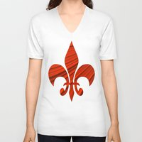 renaissance V-neck T-shirts featuring Renaissance Red by Charma Rose
