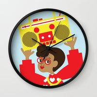 transistor Wall Clocks featuring Trini Transistor  by The Pairabirds