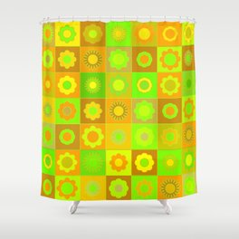 Blue and Purple Flower Pattern Shower Curtain