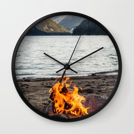 Fire on the lake Wall Clock