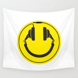 Headphones smiley wire plug Wall Tapestry