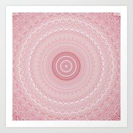 Boho Chic Glittery Pink Pastel Mandala Art Print