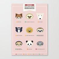sloths Canvas Prints featuring Endangered Bears & Sloths by Mirukuru