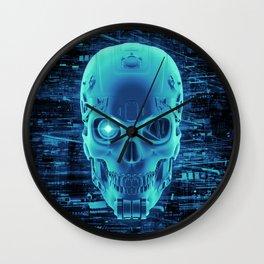 Gamer Skull BLUE TECH / 3D render of cyborg head Wall Clock