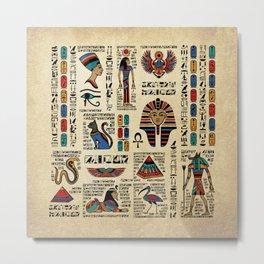 Egyptian hieroglyphs and deities on papyrus Metal Print