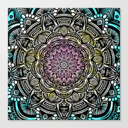 DETAILED CHARCOAL MANDALA (BLACK AND WHITE) WITH COLOR (PINK YELLOW TEAL) Canvas Print
