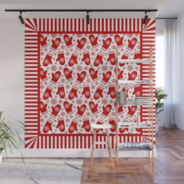 Happy Christmas Mittens Wall Mural
