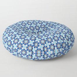 Islamic geometric Moroccan pattern in blue Floor Pillow