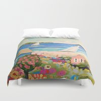karen Duvet Covers featuring Pink Hibiscus by Karen Fields by Karen Fields Design